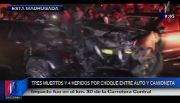 Choque en carretera central dejó 3 muertos. (Captura)