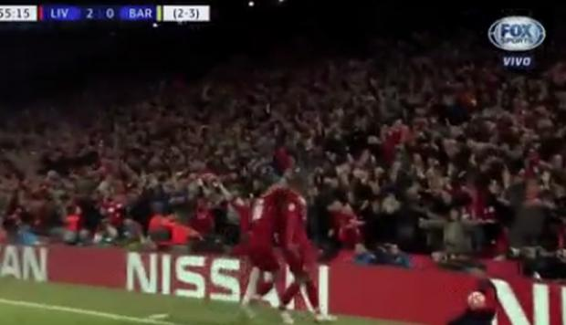 Georginio Wijnaldum marcó el tercero para Liverpool el Anfield. (Captura y video: Fox Sports)