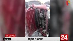 Dos autos y una coaster protagonizan aparatoso accidente en Los Olivos | VIDEO