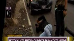 Motociclista sufre accidente en la Costa Verde [VIDEO]