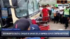 Choque entre bus interprovincial y mototaxi deja dos muertos en Chincha [VIDEO]