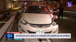 Un herido tras accidente vehicular entre auto y camión en la Vía Expresa [VIDEO]