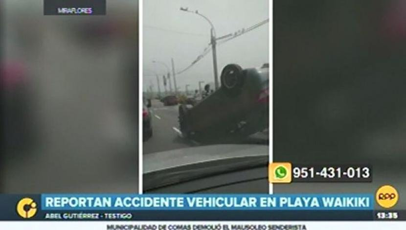 Accidente vehicular en Miraflores. (RPP)