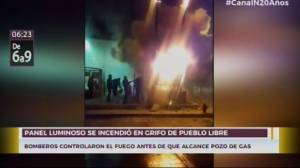 Alarma por incendio de panel luminoso en un grifo de Pueblo Libre [VIDEO]